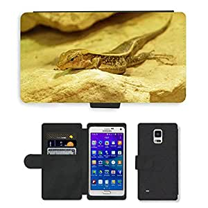 PU LEATHER case coque housse smartphone Flip bag Cover protection // M00133895 Lagarto del reptil Animales Criatura // Samsung Galaxy Note 4 IV