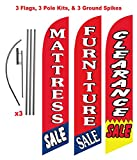 [3-PACK] Mattress and Furniture Outlet Advertising Package (Mattress Sale, Furniture Sale, Clearance Sale) Feather Banner Swooper Flag Kit w/ Spike