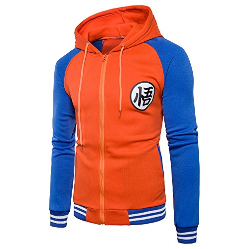 Chenma Men Dragon Ball Goku Long Sleeve Full Zip Bomber Jacket