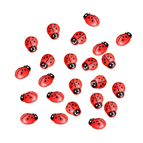Newkelly Crafts 50Pcs Miniature Decorations Coccinella Septempunctata Resin DIY Little