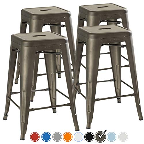 UrbanMod 24 Inch Bar Stools for Kitchen Counter Height, Indoor Outdoor Metal,Rustic Gunmetal. ()