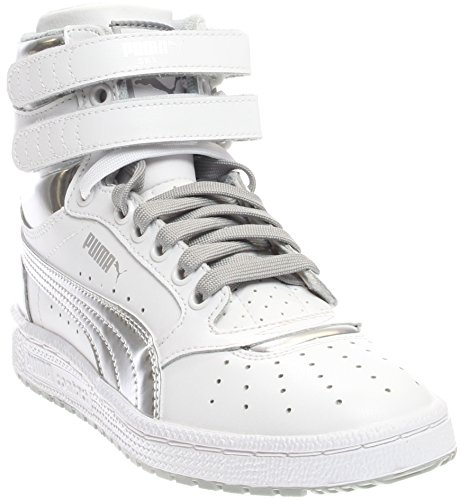 PUMA Kids' Sky II Hi Foil Jr Sneaker, White Silver, 5 M US Big Kid