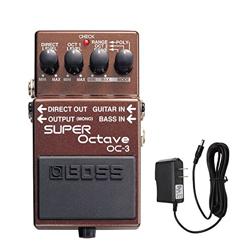 Boss OC-3 SUPER Octave Pedal with PigHog PP9V PigPower 9V DC 1000ma Power (Octave Bass Effects)