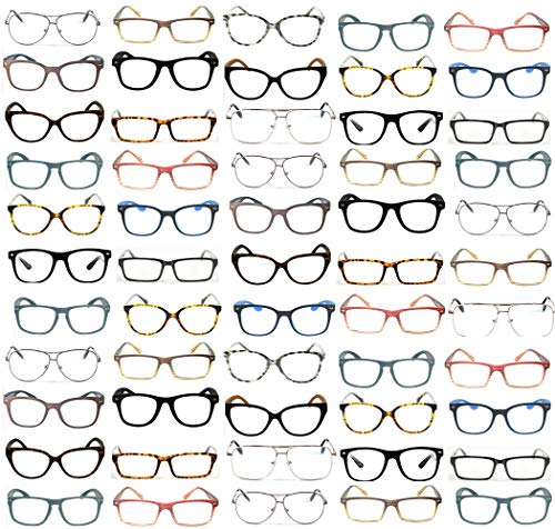50 Pairs Designer Style Fashion High Quality Premium Optical Reading Glasses Wholesale Lots Bulk +1.00 to +3.50 (Assorted ()