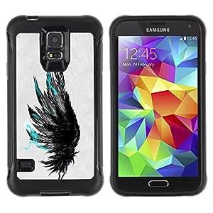 LASTONE PHONE CASE / Suave Silicona Caso Carcasa de Caucho Funda para Samsung Galaxy S5 SM-G900 / teal black grey raven bird deep art
