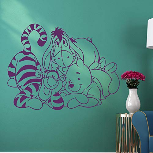 Wall Decals Winnie The Pooh Wall Decals Pooh Bear Eeyore Tigger Piglet Vinyl Decal Home Interior Kids Room Nursery Decoration Mural Disney Decal Made in USA (Black And White Winnie The Pooh Wall Stickers)