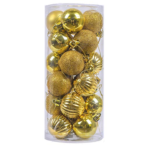 V&M VALERY MADELYN 24ct Small Christmas Ball Ornaments Shatterproof Christmas Tree Decorative Balls for Holiday,1.57inch/4CM Hanging Ornament with String Pre-Tied (Essential, Gold) for $<!--$6.99-->
