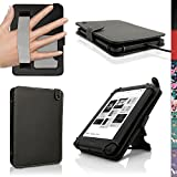 iGadgitz Black PU Leather Folio Case Cover for Kobo Touch 2, Kobo Glo HD 2015 & Kobo Aura with Hand Strap & Viewing Stand