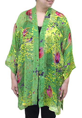 Women's Hand Painted Spring Floral Burnout Silk Kimono Jacket Plus Size Art to Wear (Hand Painted Silk Jackets)