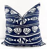 Caicos Vintage Indigo Pillow cover. Sham cover. throw Pillow cover. Select size.