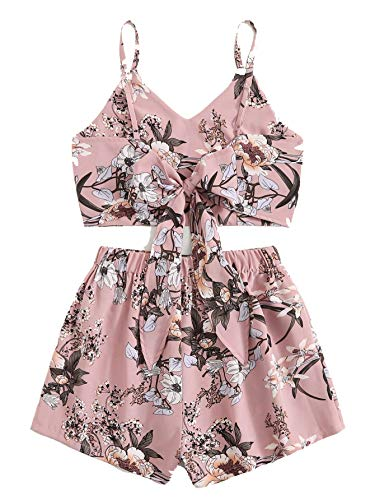 MakeMeChic Women's 2 Piece Outfit Summer Floral Print Knot Back Crop Cami Top with Shorts Pink-2 Medium