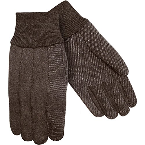 Dotted Jersey Glove - Steiner 00194-L Work Gloves, Brown Jersey 9-Ounce Plastic Dotted Knit Wrist, Large (12-Pack)