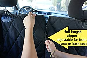 Lucy's 2-in-1 Pet Seat Cover For Front Or Rear Car Seat With 2 Piece Zipper | Black, Waterproof, Non-Slip, Hammock Or Bench Seat Pad Plus Free Cleaning Roller