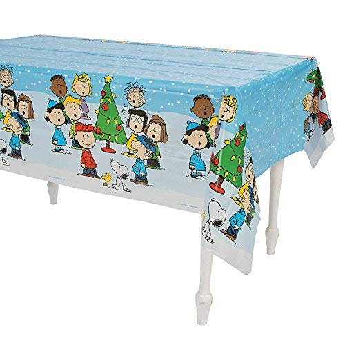 Peanuts Christmas Table Cover Tablecloth (Snoopy Christmas Decorations)