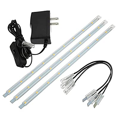 LEDwholesalers Linkable Under Cabinet Light Set of 3x 10-inch LED Strips, 1977WW
