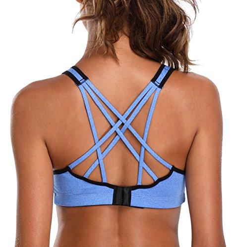 ATTRACO Ladies Workout Bra Padded Sports Bra Criss Cross Blue Small