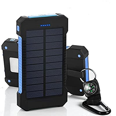 Solar Charger 10000mAh Solar Power Bank Dual USB Port Portable Charger Solar Battery Charger for iPhone iPad iPod Cell Phone Tablet Camera Rain-Resistant Dust-Proof and Shockproof