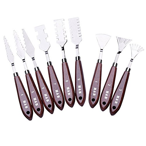 (WElinks 9Pcs Professional Stainless Steel Spatulas Painting Palette Knives Art Tools Set for FX Special Effects in Oil Painting or Acrylic Mixing Paints- Thin and Flexible Art Tools for Artists)