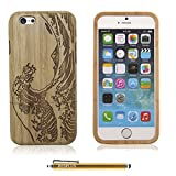iPhone 6 Case, HESPLUS Great Waves Pattern Genuine Handmade Natural Bamboo Hard Case Cover for iPhone 6 4.7 Inch + Stylus Pen