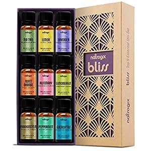 Natrogix Bliss Aromatherapy Top 9 Essential Oils Set, 100% Pure Therapeutic Grade, Tea Tree/Lavender/Eucalyptus/Frankincense/Lemongrass/Lemon/Rosemary/Orange/Peppermint