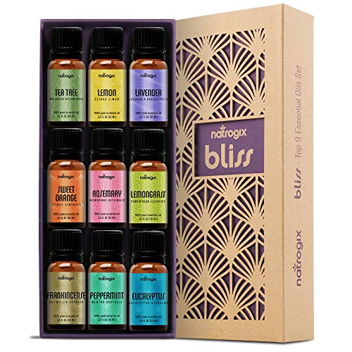 Natrogix Bliss Essential Oils - Top 9 Therapeutic Grade 100% Pure Essential Oil Set 9/10ml (Tea Tree, Lavender, Eucalyptus, Frankincense, Lemongrass, Lemon, Rosemary, Orange, Peppermint) w/Free E-Book - Gift Set Perfume Extract