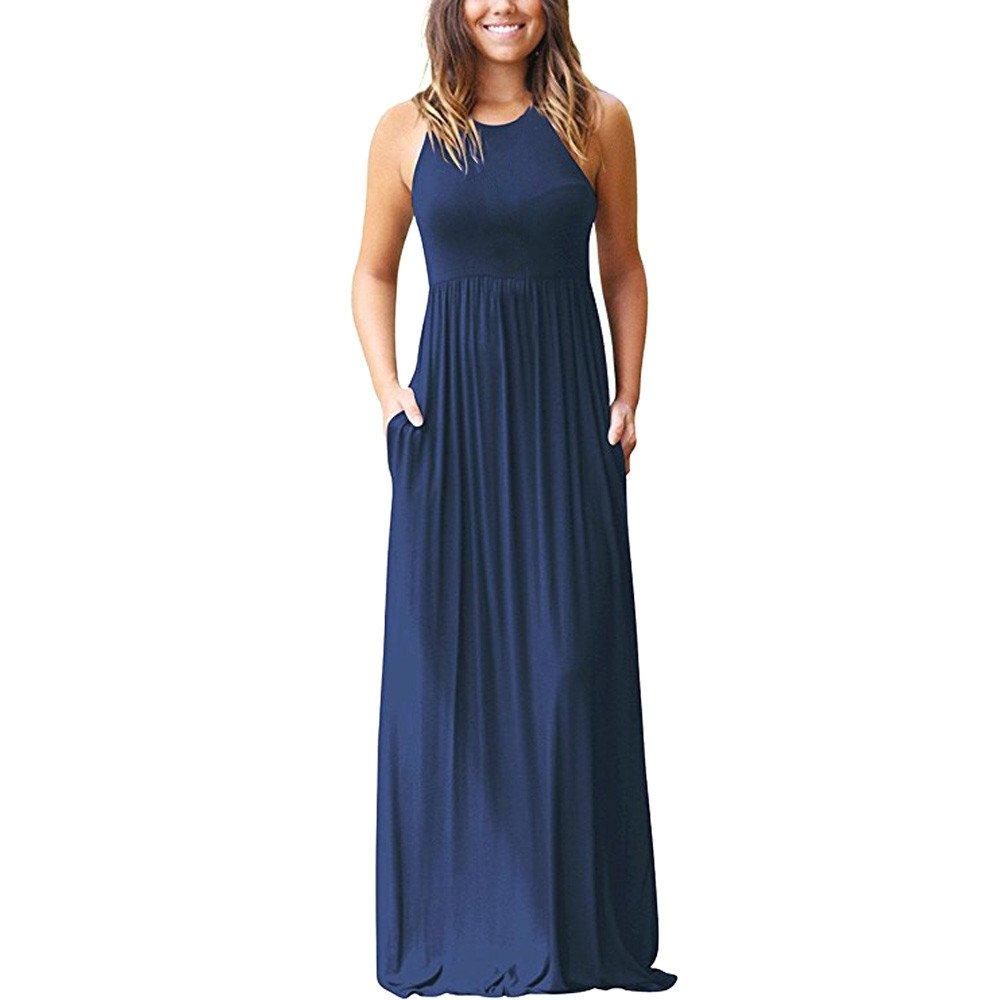 Libermall Women's Dresses Summer Plain Sleeveless Racerback with Pocket Beach Sundress Long Maxi Dress Navy