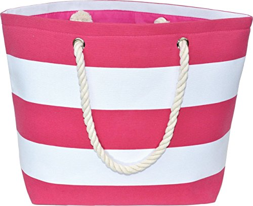 Large Water Resistant Canvas Striped Beach Bag - Inside Lining, Zippered Inner Pocket, Top Handle (Deep Pink/White Striped) -