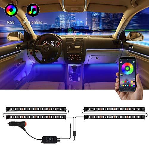 Interior Car Lights, YLCVBUD 4pcs RGB Car LED Strip Lights Waterproof APP Control 48 LED Multi Lighting Kits, Sync to Music Car Lighting + DC 12V Car Charger