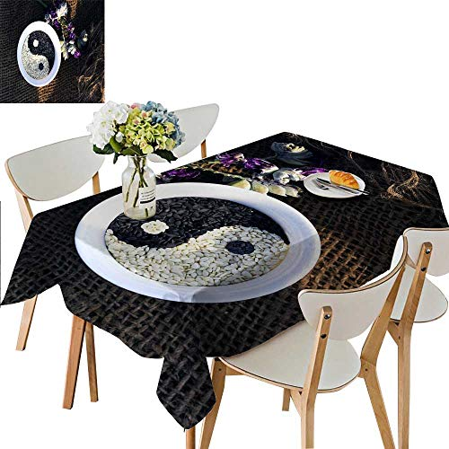 Tower Tai Chi (UHOO2018 Spillproof Fabric Tablecloth Taichi Sesame Square/Rectangle Washable Polyester,50 x 72inch)