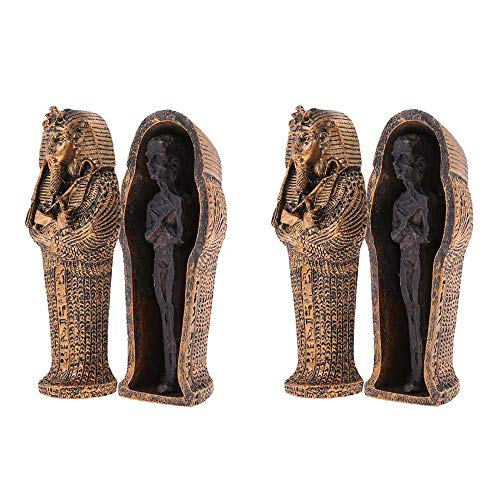 LOBGIHFV 2Pcs Halloween Ancient Egyptian Black Mummy Statue