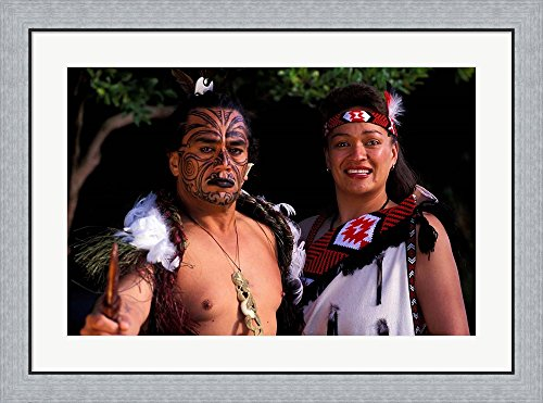 Maori Costumes (New Zealand, North Island, Maori culture and costume by Bill Bachmann / Danita Delimont Framed Art Print Wall Picture, Flat Silver Frame, 34 x 26 inches)