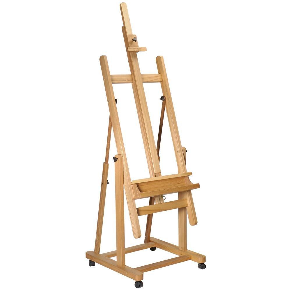 Mont Marte Tilting Studio Easel  Height Adjustable H-Frame Wooden Floor  Easel Featuring a Large Tilt Range  Castor Wheels Allow Easy Movement and  Can
