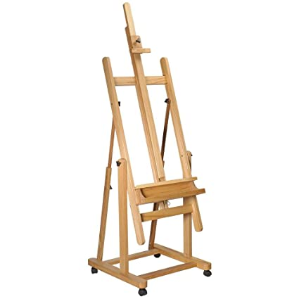 Mont Marte Tilting Studio Easel  Height Adjustable H-Frame Wooden Floor  Easel Featuring a Large Tilt Range  Castor Wheels Allow Easy Movement and  Can