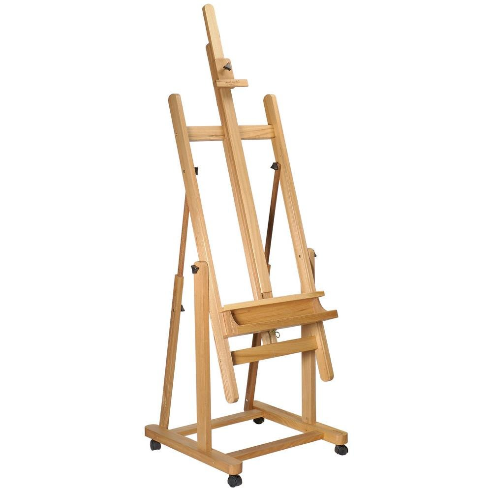 Mont Marte Tilting Studio Easel. Height Adjustable H-Frame Wooden Floor Easel Featuring a Large Tilt Range. Castor Wheels Allow Easy Movement and Can Be Locked into Place.