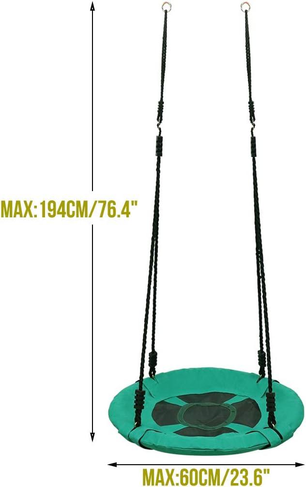 WISFORBEST Columpio Redondo para Ni/ños 60 x 60 x 194cm Carga M/áx 100kg Columpio Nido Plegable para Jard/ín Interior Exterior