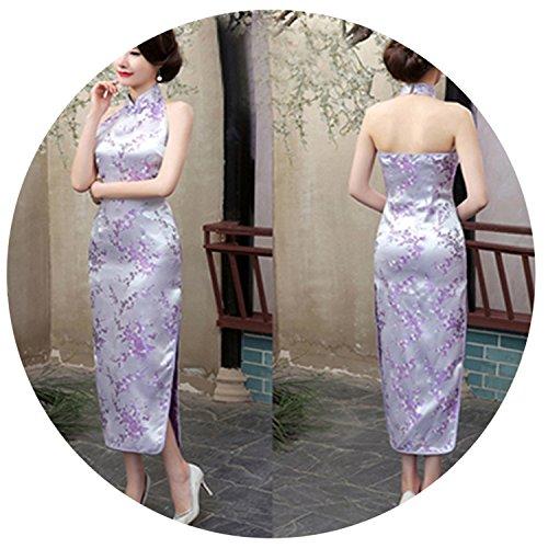 Women's Evening Party Dress Chinese Backless Cheong-sam Long Cheongsam Qipao