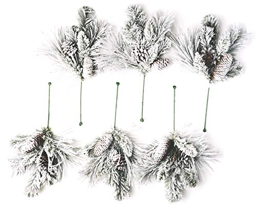 CraftMore Frosted Holiday Pine Pick Set of 6