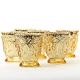Koyal Wholesale Vintage Glass Candle Holder (Pack of 6), 3 x 2.75 (Antique Gold)