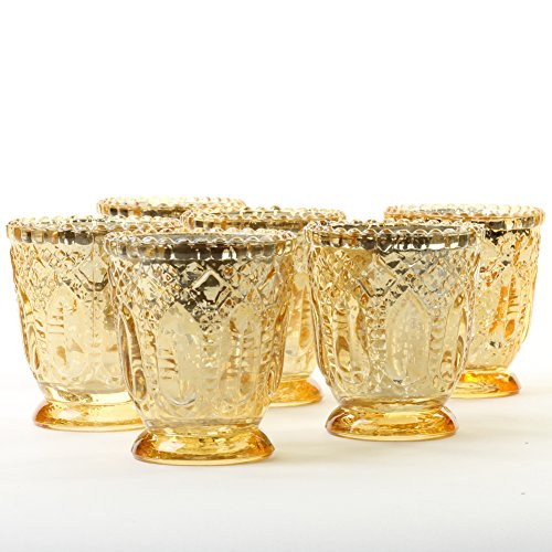 Koyal Wholesale Vintage Glass Candle Holder (Pack of 6), 3 x 2.75 (Antique Gold) (Holders Pedestal Glass Candle Mercury)