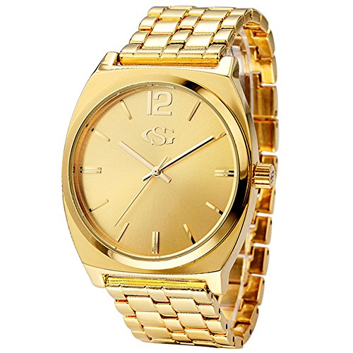GEORGE SMITH Men's 43 mm Gold Dial Wrist Watch with 5 Pieces Metal Bracelet Link