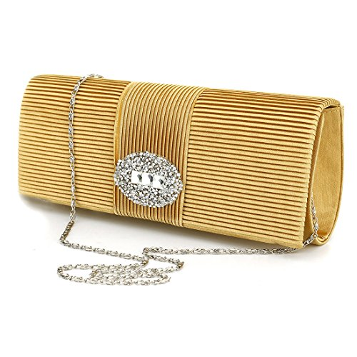 Ladies Handbag for Clutch Purse Satin Crystal Formal Women UNYU Bags Evening Designer Evening Silver Wedding Pleated 7qfwdxHS