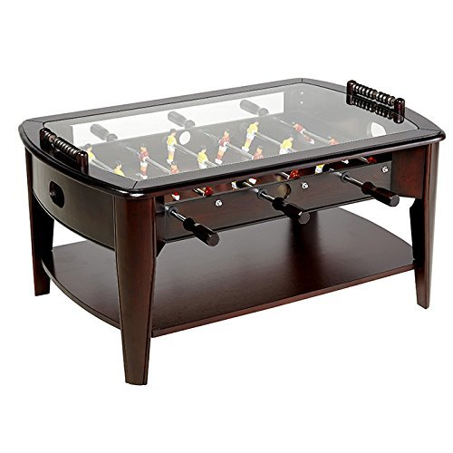 Amazoncom Foosball Coffee Game Wood Table Tempered Glass Top - Foosball coffee table with stools
