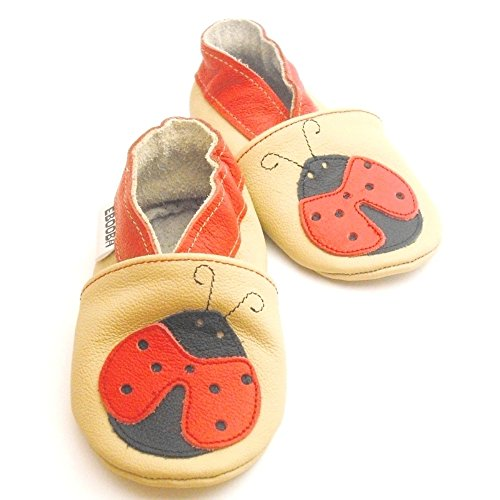 Soft Sole Leather Baby Shoes Crib Shoes First Walker Shoes Toddler Shoes (0-6 Months, Ladybird)
