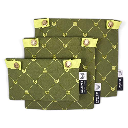 Airtight Reusable Sandwich/Snack Bags by LunchFox - Organic Cotton Canvas with Heavy Duty Foil Lining to Keep Food Fresh Longer - For Adults/Kids, Lunch, Snacks - Dishwasher Safe