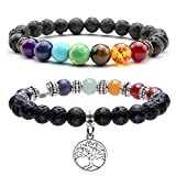 Top Plaza Lava Stone Diffuser Bracelet - Aromatherapy 7 Chakra Tree of Life Charm Yoga Meditation Reiki Healing Crystals Bracelets