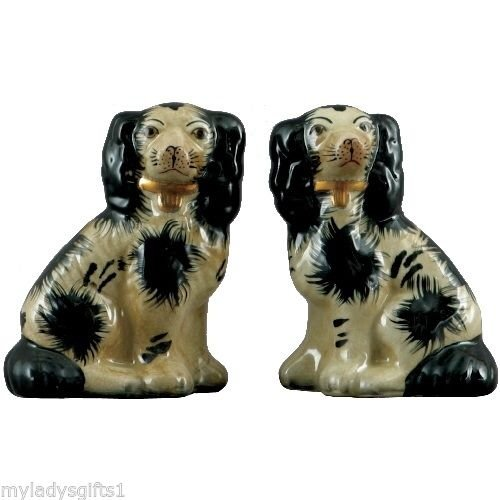 Staffordshire Reproduction King Charles Spaniel Dog Pair Small Figurines