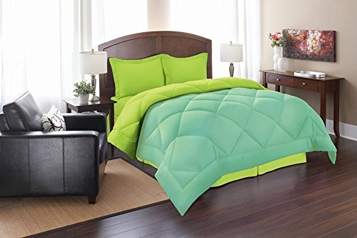 3pc Comforter Set, Full/Queen, Aqua/Lime