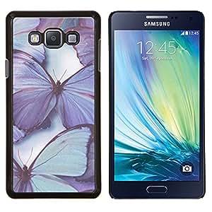 KLONGSHOP // Cubierta de piel con cierre a presión Shell trasero duro de goma Protección Caso - mariposa púrpura naturaleza azul de primavera - Samsung Galaxy A7 A7000 //