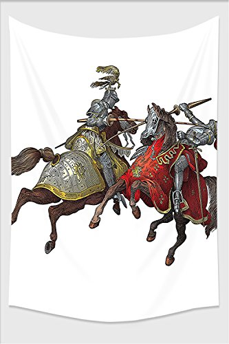Dali Clock Costume (Nalahome-Medieval Decor Collection Middle Age Fighters Knights with Ancient Costume Renaissance Period Illustration Artwork Multi Tapestry Wall Hanging Wall Tapestries 90.5L x 59W Inches)