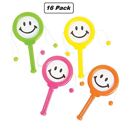 Smiley Face Drum Noise Maker - Pack of 16 - 4 Inches Assorted Colors Noisemaker for Mexican Fiesta, Or Classroom Musical Instruments - for Kids Great Party Favors, Fun, Toy, Gift, Prize - by Kidsco